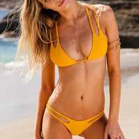 Halter Hollow Out Bikini Swimsuit Swimwear