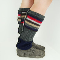 Leg Warmers in Crazy Legs Stripes - Red Navy Grey Brown - Recycled Wool Sweaters