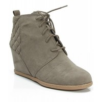 Qupid Women's Lace Up Faux Suede Ankle Wedge Booties TAUPE