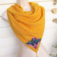 Yellow Scarf, Women Scarf, Fashion Scarf, Long Scarf with large embroidered Flower.