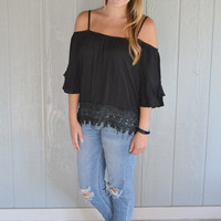 Timeflies Off Shoulder Top: Black