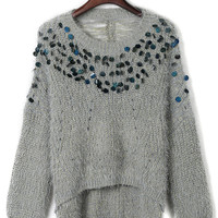 Gray Ripped Slit Back Fluffy Sequined Knit Jumper