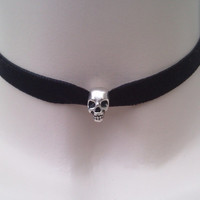 Tibetan Silver Goth SKULL BEAD Charm BLACK 10mm Velvet Ribbon Choker Necklace - tf... or choose another colour, wide choice :)