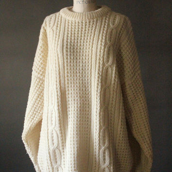 Vintage 60's Hand Loomed Pure New Wool Cream Cable Knit Fisherman Pullover Sweater by Bonner Ireland