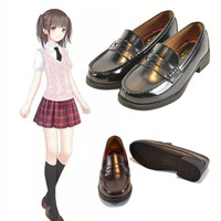 Universal Women Japan School Student JK Soft Leather Flat Low Heel Shoes for Cosplay Uniform