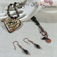 Handmade Copper and Shell Heart with Dyed Jade Necklace Set