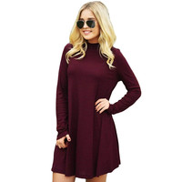 Women Long Sleeve Striped Wine Red Loose Casual T Shirt Dress