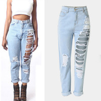 Light Blue Frayed Denim Pants
