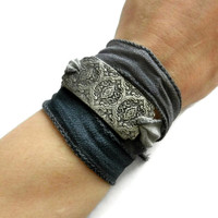 Grey Silk Wrap Bracelet,Damask Design Bracelet, Yoga Bracelet