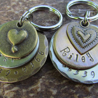 Dog Tag - Pet ID Tag - Dog collar tag - Pet Tag in nickel or brass with Bronze heart pendant - Personalized - Engraved