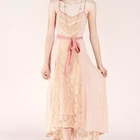 Goddess of Love Lace Paneled Cami Maxi Dress in Nude/Pink   Sincerely Sweet Boutique