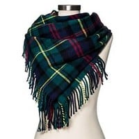 Women's Blanket Scarf Classic Navy Plaid - Merona™