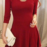 Red Cut-Out Neckline Skater Dress