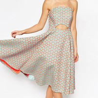 ASOS SALON Bandeau Laser Cut Cutout Midi Dress