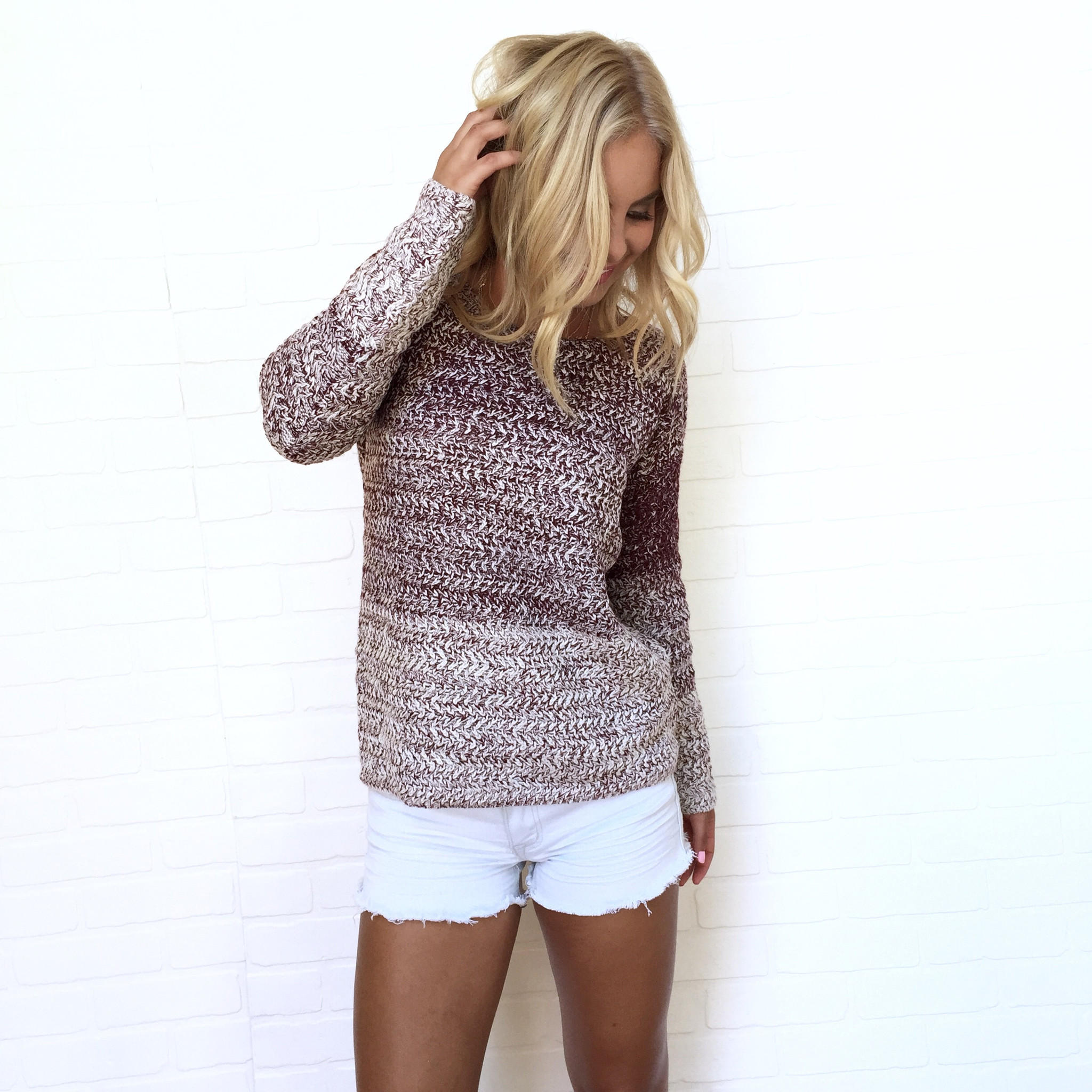 Image of Early Morning Ombré Knit Sweater In Plum