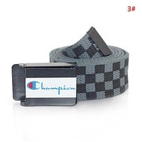Champion Fashion New Letter Print Plaid Canvas Women Men Leisure Belt 3#