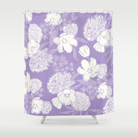 SKETCHY FLORAL: DUSTY LAVENDER Shower Curtain by Eileen Paulino