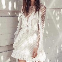 New Women's Star Hollow Lace Stitching Ruffled Vacation Beach Dress