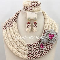 New Fabulous Handmade Beads For Women Jewelry Set African Wedding Fashion Jewelry Statement Necklace Set ABY334