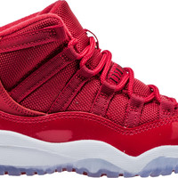 AIR JORDAN RETRO 11 WIN LIKE 96 PRESCHOOL LIFESTYLE SHOE (RED/WHITE/BLACK)
