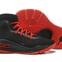 DCCK2 Men's Under Armor Curry 4 Basketball Shoes Black Red 40-46