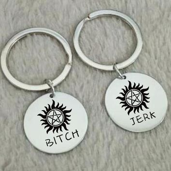 Bitch Jerk Keychains, Supernatural Gift, Supernatural Love, Anniversary Gift - Husband and Wife - Brother & Sister