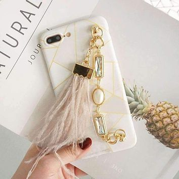 Cute Chain Marble Feather Apple iPhone XR phone case