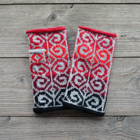 Hand-Knit Gray and Red Fingerless Gloves - Fashion Gloves - Bohemian Gloves - Fingerless Gloves - Wool Fingerless Gloves  no 99.