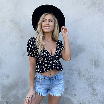 Daisy Fields Floral Print Flare Top