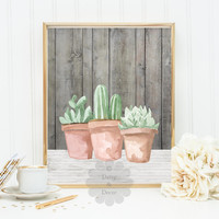 succulents Cactus Cacti plant decor home wall art poster print nursery wall art wood outside art desert art poster poster printable