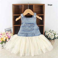 Hot-selling baby girl Jeans Tutu dress child vest tulle dress kids children summer clothing 36