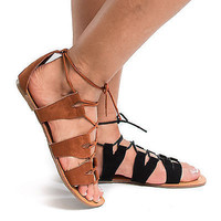 Tanaya624 Open Toe Cut Out Gladiator Lace Up Flat Sandals