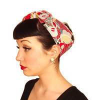 Red Primary Vintage Head Wrap Scarf