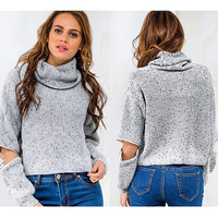 Fashion Zipper Scoop Neck Top Sweater Pullover