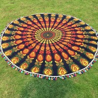 2016New Summer Round Mandala Indian Bohemian Hippie tassel Wall Hanging Tapestry Beach Picnic Throw Towel Rug Blanket Home Decor