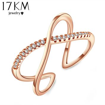 Vintage X Cross Ring Jewelry Fashion Zircon Anel Bijoux Bague for Wedding Band Rings For Women female Accessory anillo CS12