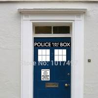 Fashion Cool Police Box door decal vinyl sticker ,Dr. Who Doctor Style For Door & fridge decoration