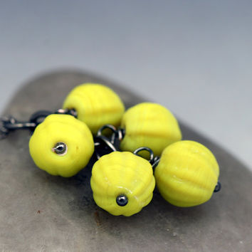 Neon Yellow Cluster Necklace