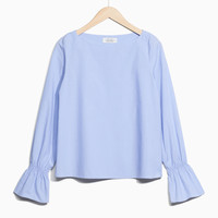 Trumpet Sleeve Top - Blue - Blouses - & Other Stories US