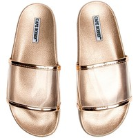 Cape Robbin Moira-11 Rose Gold Women's Slides