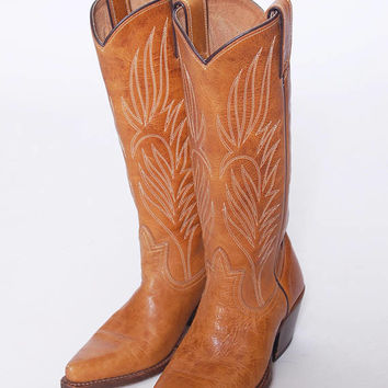 Vintage Leather COWBOY Boots Caramel WESTERN Boots Steve Madden Boots Hippie Boho Boots Size 6