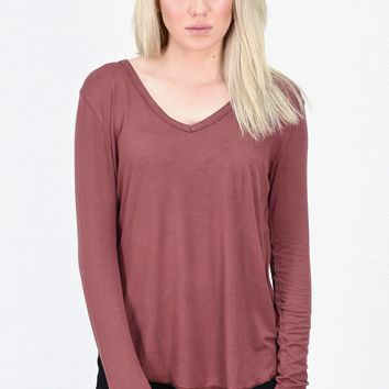 Loose Fit V-neck L/S Basic {Marsala} - Size MEDIUM