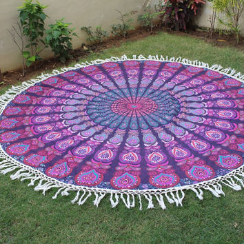 Round Mandala Throw Bohemian hippie Beach throw, picnic rugs
