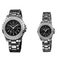 Superior Quality Mens Black Steel Strap Watch with Diamond Best Christmas Gift