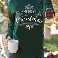Merry Christmas patched elbow sweater
