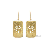 Hand Cut/Textured Micron Gold Plated Rectangle Shape 925 Sterling Silver Earring - #1567
