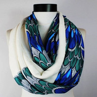 peacock scarf,infinity scarf, scarf, scarves, long scarf, loop scarf, gift