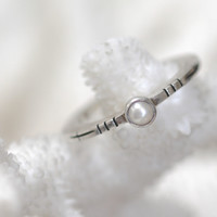 1 Stacking Boho Silver Ring Pearl Sterling Gypsy Hippie