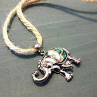 Good Luck Elephant Necklace, Rope Necklace, Abalone Shell Pendant Necklace, Good Luck Charm Jewelry, Cool Rope Jewelry