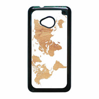 World Map On Wood Texture Print White HTC One M7 Case